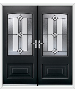 Portland French Rockdoor in Onyx Black with Apostle Glazing