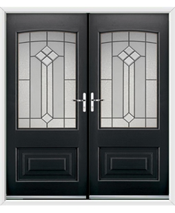 Portland French Rockdoor in Onyx Black with Beacon