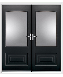 Portland French Rockdoor in Onyx Black with Glazing