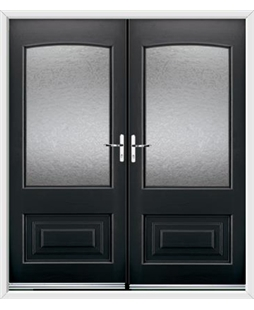 Portland French Rockdoor in Onyx Black with Gluechip Glazing