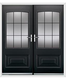 Portland French Rockdoor in Onyx Black with Square Lead