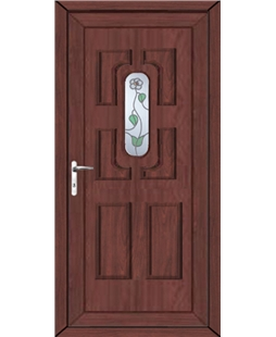 Cheltenham White Rose uPVC High Security Door In Rosewood
