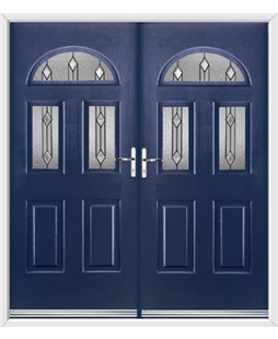 Tennessee French Rockdoor in Sapphire Blue with Dorado Glazing