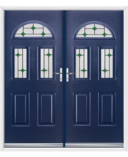 Tennessee French Rockdoor in Sapphire Blue with Green Diamonds