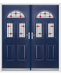 Tennessee French Rockdoor in Sapphire Blue with Red Diamonds
