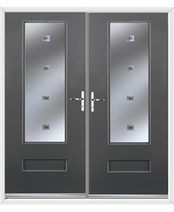 Vogue French Rockdoor in Slate Grey with Abyss Glazing