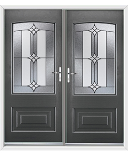 Portland French Rockdoor in Slate Grey with Apostle Glazing