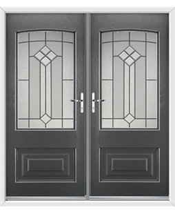 Portland French Rockdoor in Slate Grey with Beacon