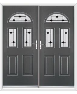 Tennessee French Rockdoor in Slate Grey with Black Diamonds