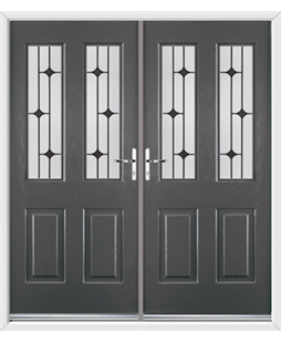 Jacobean French Rockdoor in Slate Grey with Black Diamonds