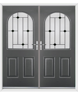 Kentucky French Rockdoor in Slate Grey with Black Diamonds