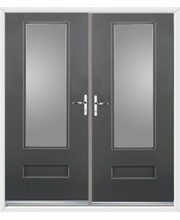 Vogue French Rockdoor in Slate Grey with Glazing
