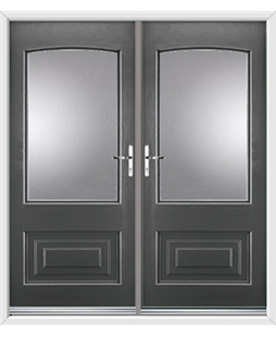 Portland French Rockdoor in Slate Grey with Glazing