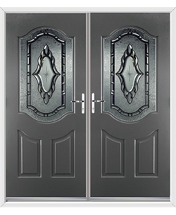 Georgia French Rockdoor in Slate Grey with Constellation Glazing