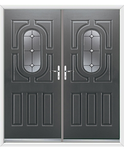 Arcacia French Rockdoor in Slate Grey with Crystal Bevel