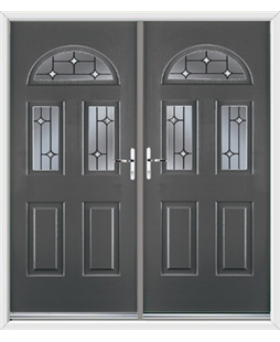 Tennessee French Rockdoor in Slate Grey with Crystal Bevel
