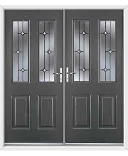 Jacobean French Rockdoor in Slate Grey with Crystal Bevel