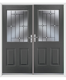 Windsor French Rockdoor in Slate Grey with Crystal Bevel