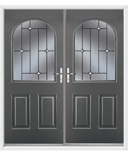 Kentucky French Rockdoor in Slate Grey with Crystal Bevel