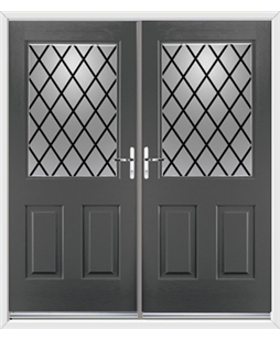 Windsor French Rockdoor in Slate Grey with Diamond Lead