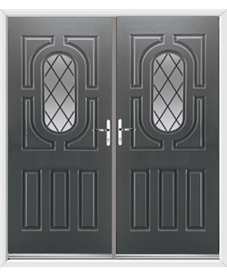 Arcacia French Rockdoor in Slate Grey with Diamond Lead
