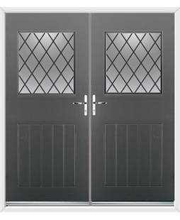 Cottage View Light French Rockdoor in Slate Grey with Diamond Lead