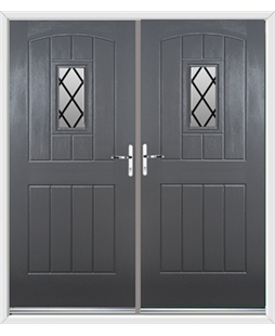 English Cottage French Rockdoor in Slate Grey with Diamond Lead
