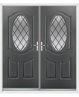 Montana French Rockdoor in Slate Grey with Diamond Lead