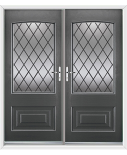 Portland French Rockdoor in Slate Grey with Diamond Lead