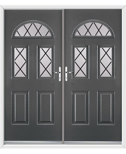 Tennessee French Rockdoor in Slate Grey with Diamond Lead