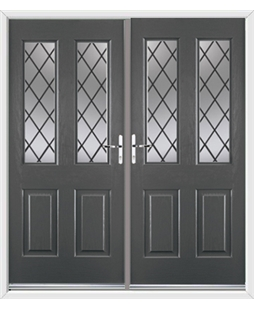 Jacobean French Rockdoor in Slate Grey with Diamond Lead