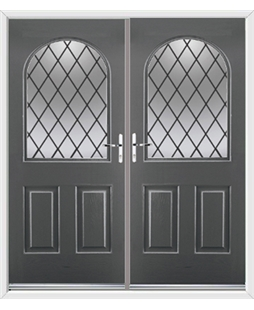 Kentucky French Rockdoor in Slate Grey with Diamond Lead