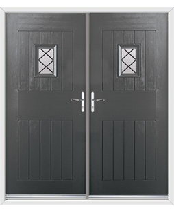 Cottage Spy View French Rockdoor in Slate Grey with Diamond Lead