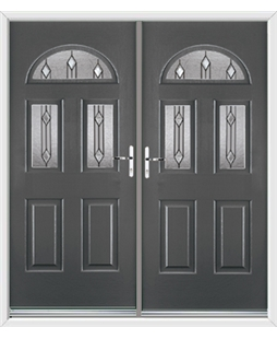 Tennessee French Rockdoor in Slate Grey with Dorado Glazing