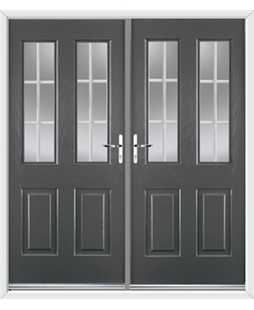 Jacobean French Rockdoor in Slate Grey with White Georgian Bar