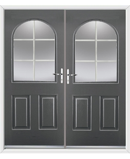 Kentucky French Rockdoor in Slate Grey with White Georgian Bar
