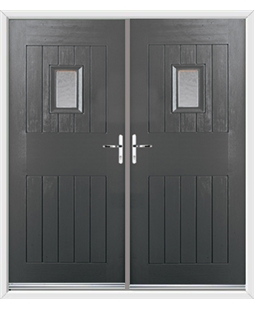 Cottage Spy View French Rockdoor in Slate Grey with Gluechip Glazing