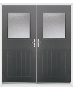 Cottage View Light French Rockdoor in Slate Grey with Gluechip Glazing