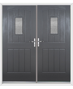 English Cottage French Rockdoor in Slate Grey with Gluechip Glazing