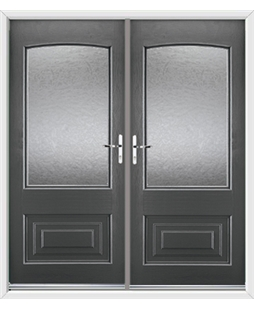 Portland French Rockdoor in Slate Grey with Gluechip Glazing
