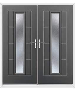 Vermont French Rockdoor in Slate Grey with Gluechip Glazing