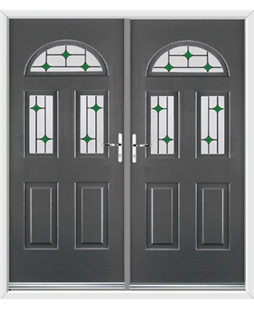 Tennessee French Rockdoor in Slate Grey with Green Diamonds