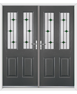 Jacobean French Rockdoor in Slate Grey with Green Diamonds