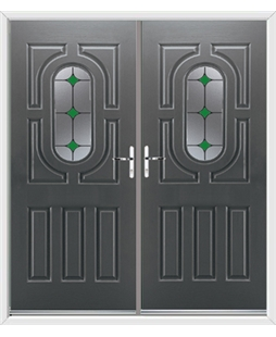 Arcacia French Rockdoor in Slate Grey with Green Diamonds