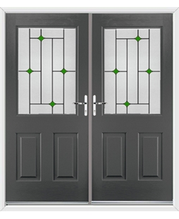 Windsor French Rockdoor in Slate Grey with Green Diamonds