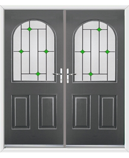 Kentucky French Rockdoor in Slate Grey with Green Diamonds