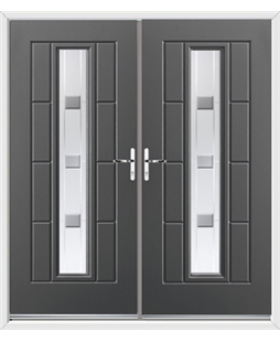 Vermont French Rockdoor in Slate Grey with Grey Shades