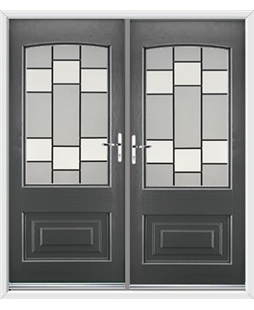 Portland French Rockdoor in Slate Grey with Horizon