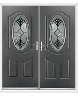 Montana French Rockdoor in Slate Grey with Libra Glazing