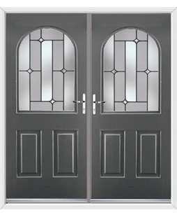 Kentucky French Rockdoor in Slate Grey with Linear